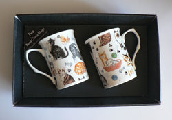 Cats mug gift set 2x bone china mugs with cats & kittens print in black gift box