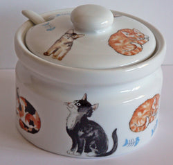 Cat ceramic preserve jar with ceramic spoon