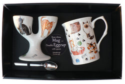 Cats and Kittens Double eggcup with Egg Spoon and Bone China Mug Gift Boxed