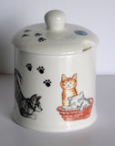 Set of 2 bone china cats & kittens design preserve jars & spoons gift boxed