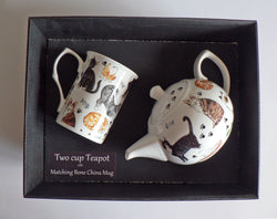 Cats 2 cup teapot,with matching bone china mug - gift boxed