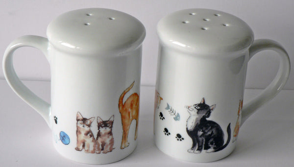 Cats design Salt and pepper shakers. Large simple shape with cute cats all round