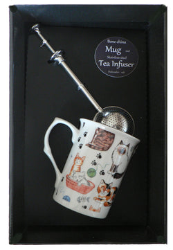 Cats and kittens bone china mug with stainless steel tea infuser gift boxed