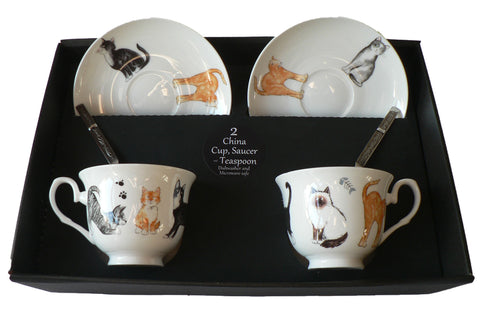 Cats and kittens set of 2 cups and saucers gift boxed with teaspoons