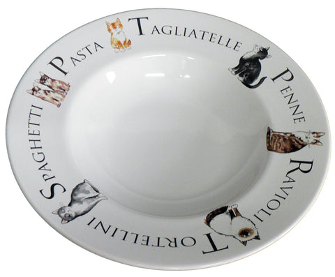Large ceramic pasta bowl with cats design