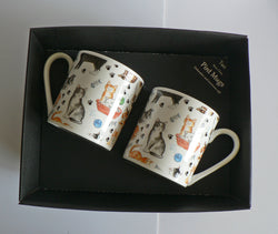 Cats pint mugs set of 2 gift boxed Cats chintz full pint sized mugs gift boxed