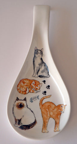 Cats and kittens white bone china Spoon. Large kitchen utensil rest