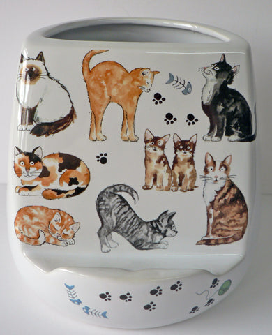 Cats Utensil pot with tablet stand large utensil holder with space for tablet