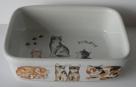 Cats rectangular ceramic roasting, pie, serving dish - choice of 3 sizes