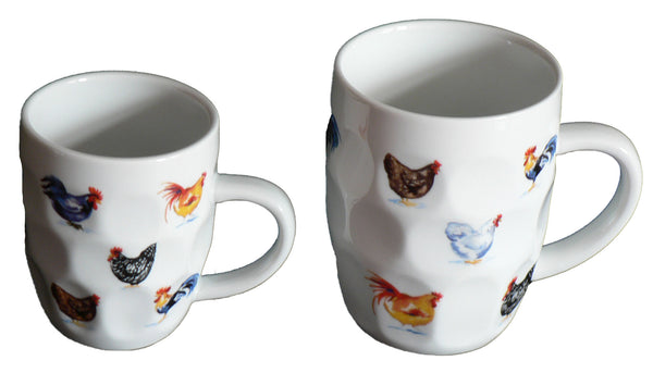 Chicken design ceramic dimple tankard, pint or half pint mug,