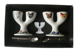 Chicken double egg cups - 2 ceramic egg cups with spoons gift boxed