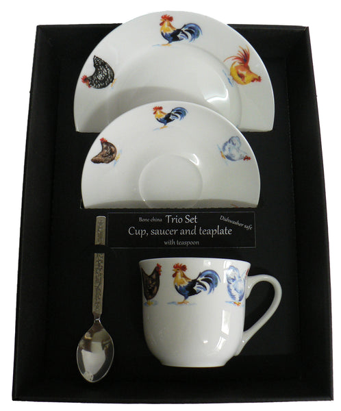 Chicken trio set. cup & saucer with teaspoon and matching tea plate gift boxed
