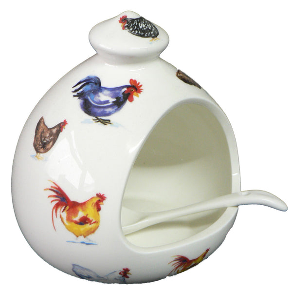 Chicken cockerel salt pig. Large salt pig decorated with colourful chickens and cockerels & ceramic spoon