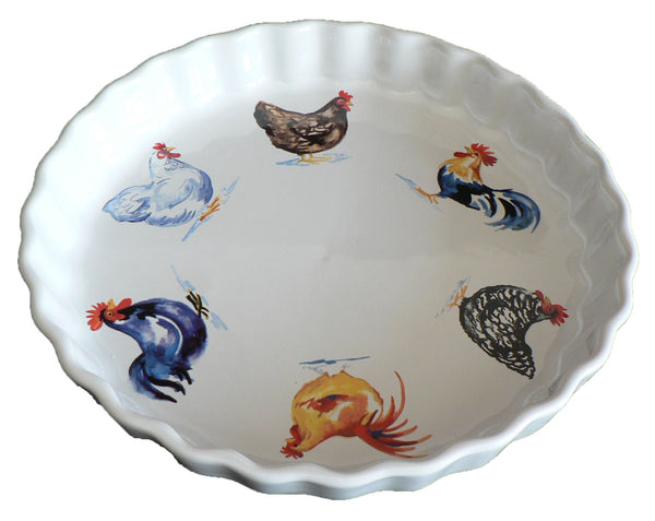 Chicken Pattern 25cm Ceramic flan Quiche Dish