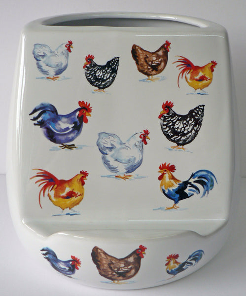 Utensil pot with tablet stand.Chicken, hen utensil holder with space for tablet