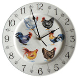 "Chicken clock - colourful fun 11"" large ceramic wall clock"