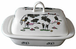 Farmyard cows colourful porcelain traditional deep white butter dish