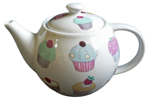 One cup teapot Cupcake design, holds just 1 cup of tea perfect for one person
