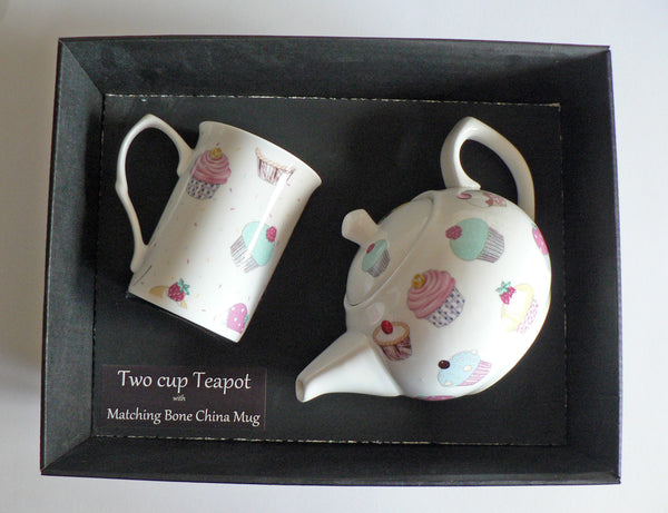 Cupcake 2 cup teapot,with matching bone china mug - gift boxed.