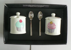 Cupcake design Set of 2 bone preserve jars & spoons gift boxed