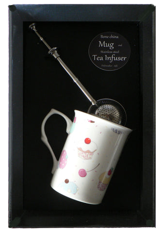 Cupcake bone china mug with stainless steel tea infuser gift boxed