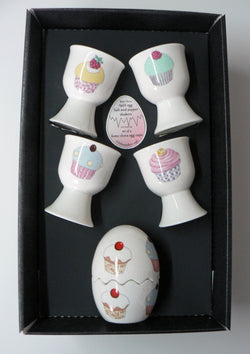 Cupcake Egg cup & cruet gift set - 4 china egg cups china egg salt and pepper
