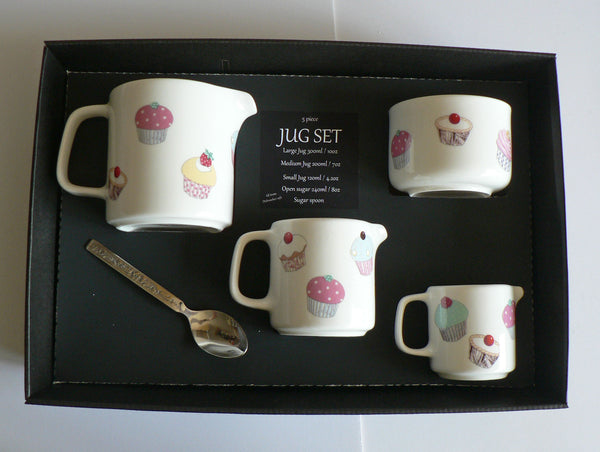 Cupcake jugs, set of 3 sizes jug or sugar pot bowl 4/7/10oz boxed