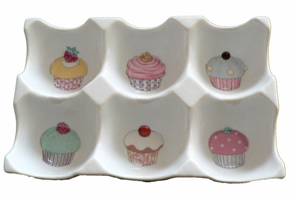 Cupcake Ceramic 6 egg holder egg tray