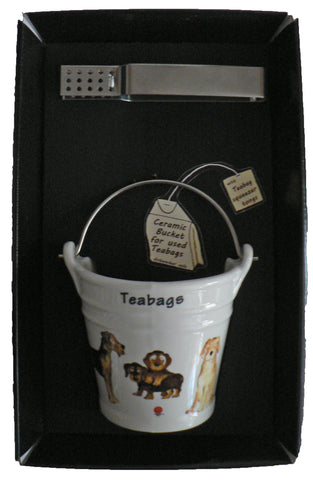 Dogs bucket shaped Teabag tidy used teabag holder  & tongs in gift tray shrink wrapped