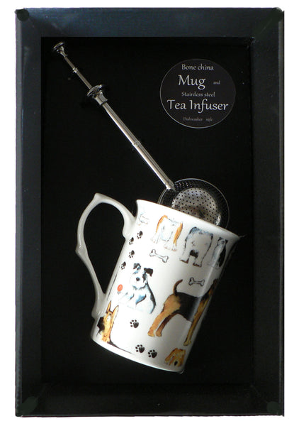 Dog bone china mug with stainless steel tea infuser gift boxed