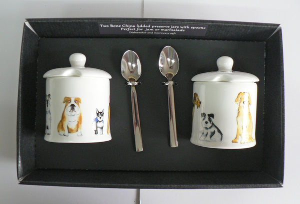 Dogs design Set of 2 bone preserve jars & spoons gift boxed