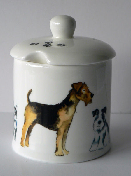 Dogs chintz, bone china preserve, jam marmalade pot container