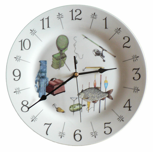"Fishing design 10.5"" large ceramic wall clock"