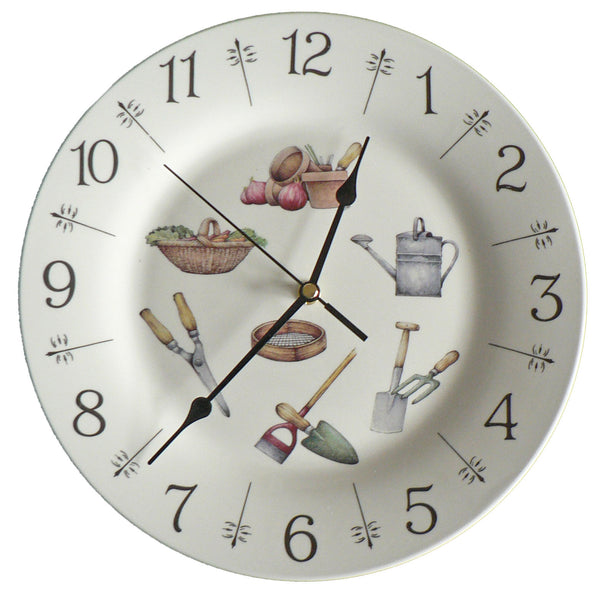 "Gardening design 10.5"" large ceramic wall clock"