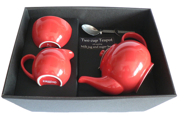 Red 2 cup teapot ,Milk & Sugar gift boxed