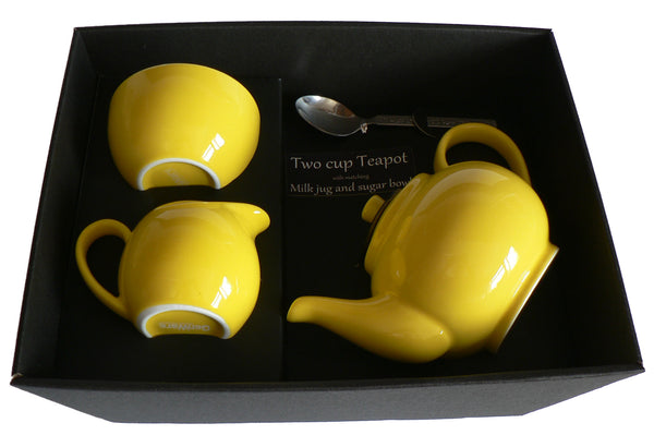 Yellow 2 cup teapot ,Milk & Sugar gift boxed