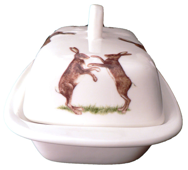 Hares porcelain traditional deep white butter dish