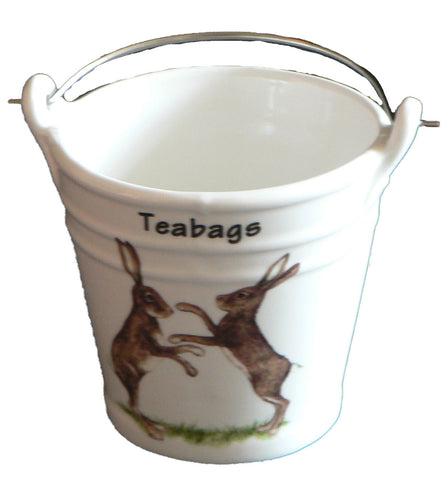 Hares Teabag tidy.Bucket, shaped used teabag pot, used teabag holder