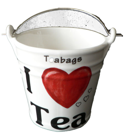 I LOVE TEA Teabag tidy bucket. Bucket shaped used teabag pot, used teabag holder