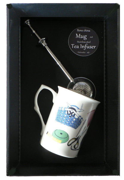 Knitting bone china mug with stainless steel tea infuser gift boxed