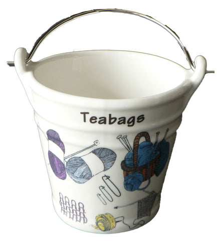 Knitting Teabag tidy bucket. Bucket shaped used teabag pot, used teabag holder