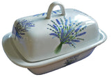 Lavender colourful porcelain traditional deep white butter dish
