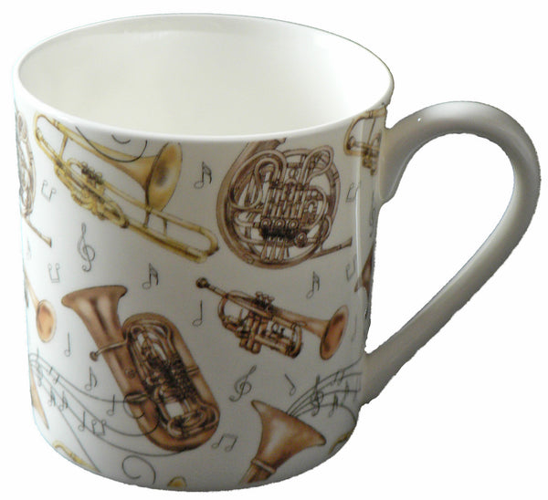 Brass musical wind instruments pint sized bone china mug