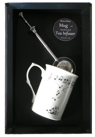 Music notes bone china mug with stainless steel tea infuser gift boxed