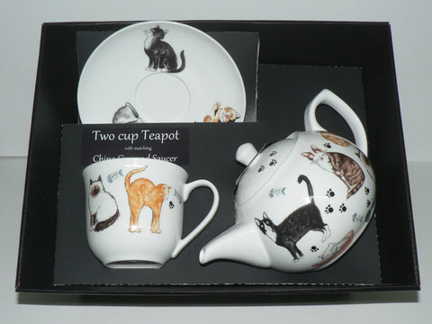 Cats 2 cup teapot,cup and saucer gift with boxed option