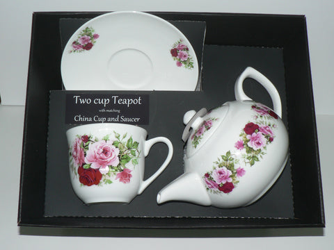 Pink Rose  2 cup teapot,cup and saucer with gift boxed option