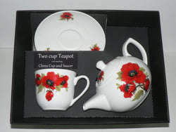Poppy 2 cup teapot,cup and saucer with gift boxed option