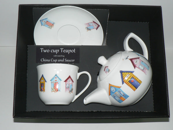 Beach Huts 2 cup teapot, cup and saucer with gift boxed option