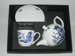 Blue Willow Pattern 2 cup teapot,cup & saucer with gift boxed option