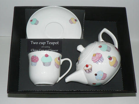 Cupcake 2 cup teapot,cup and saucer with gift boxed.
